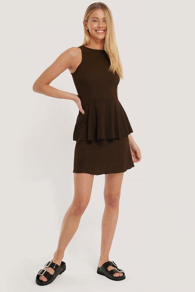 Sleeveless Mini Dress Brown.