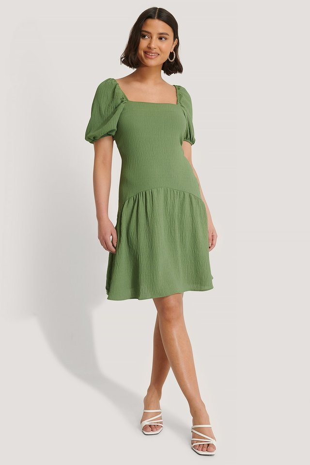 Sleeve Detail Midi Dress Green.