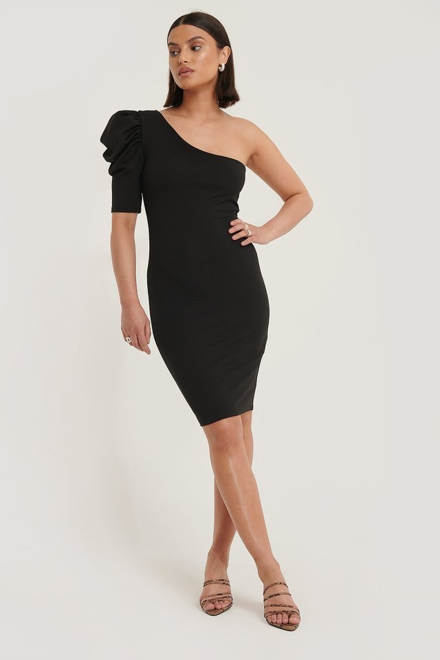 Single Sleeve Mini Dress Black.