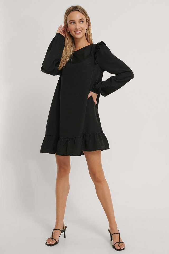 Shoulder Flounce Mini Dress Black.