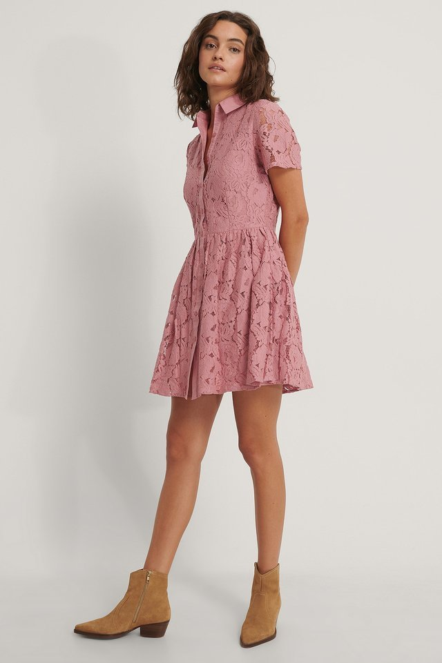 Short Sleeve Lace Mini Dress Pink.