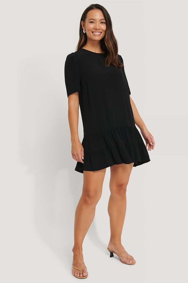 Short Sleeve Flounce Mini Dress Black.