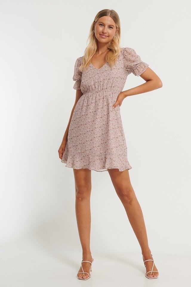 Short Sleeve Elastic Waist Dress Pink.