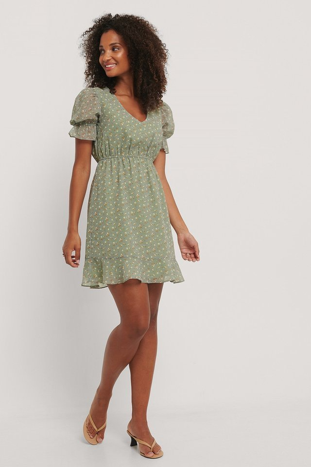 Short Sleeve Elastic Waist Dress Green.
