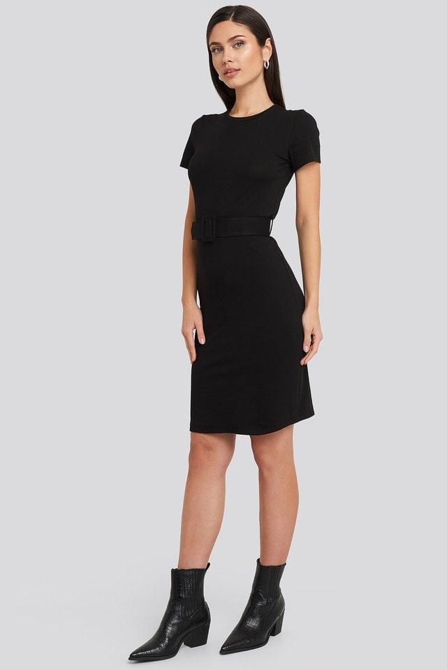 Black Short Sleeve Belted Mini Dress