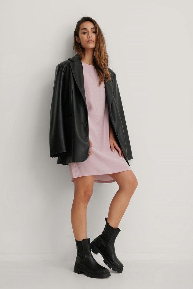 Short Ruffle Sleeve Dress Pink.