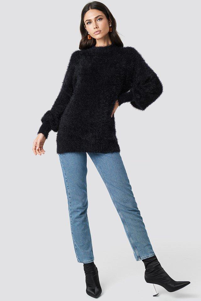 Black Alpaca Wool Blend Balloon Sleeve Sweater