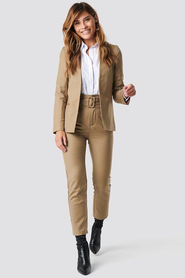 High Waist Belted Pants and Collarless Blazer