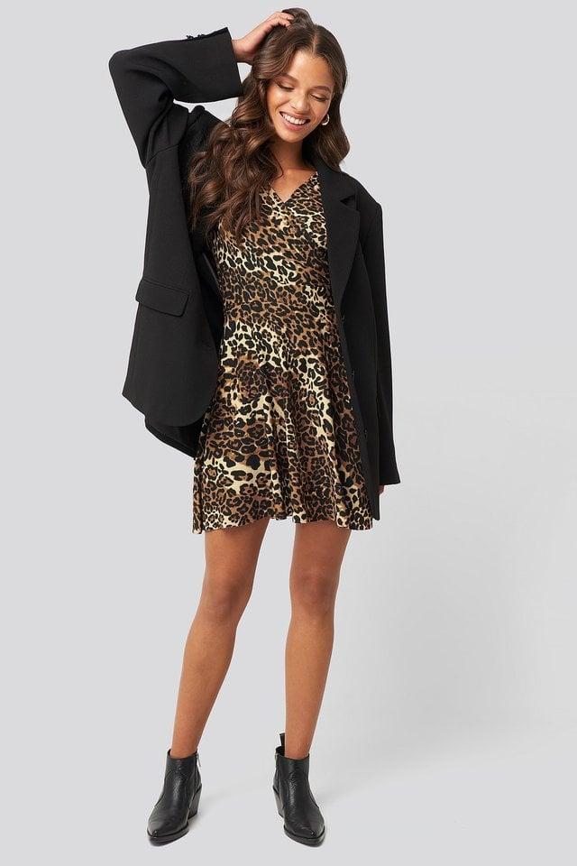 Leopard Pattern Mini Dress Outfit.