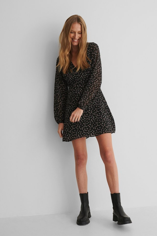Long Sleeve A-line Dress Outfit.