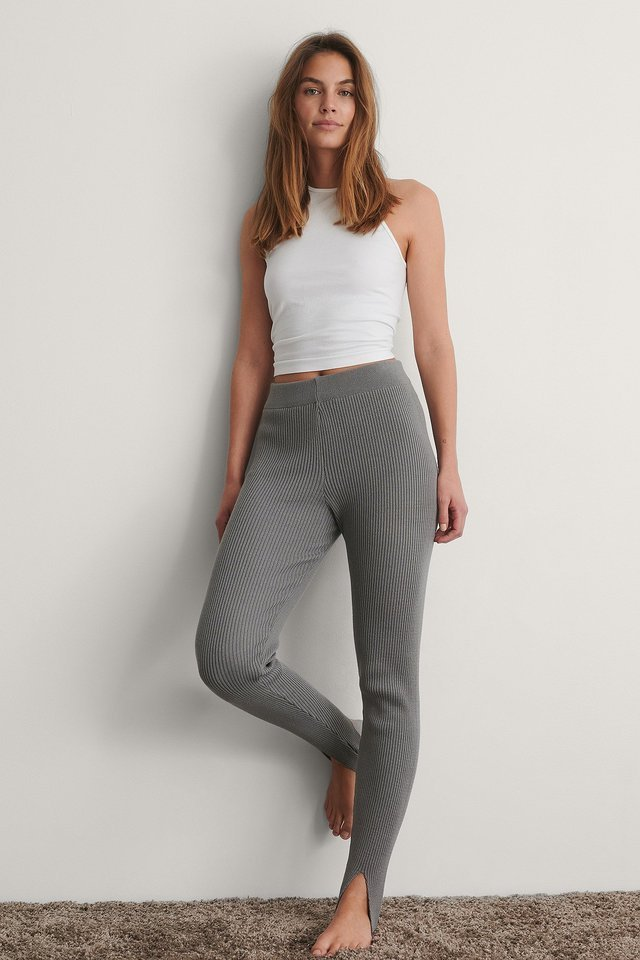 Grey Geribde Legging