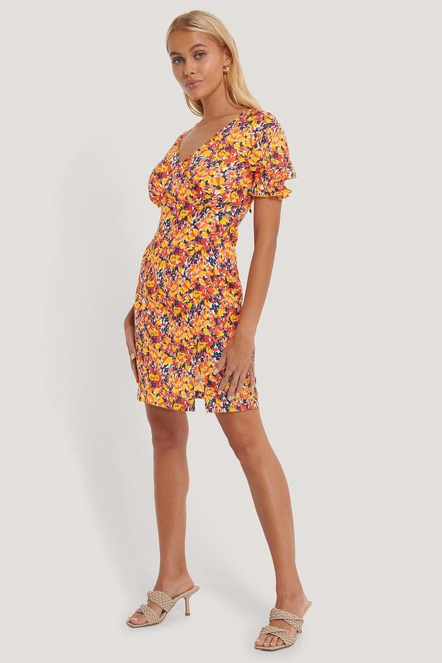 Open Back Flower Mini Dress Outfit.