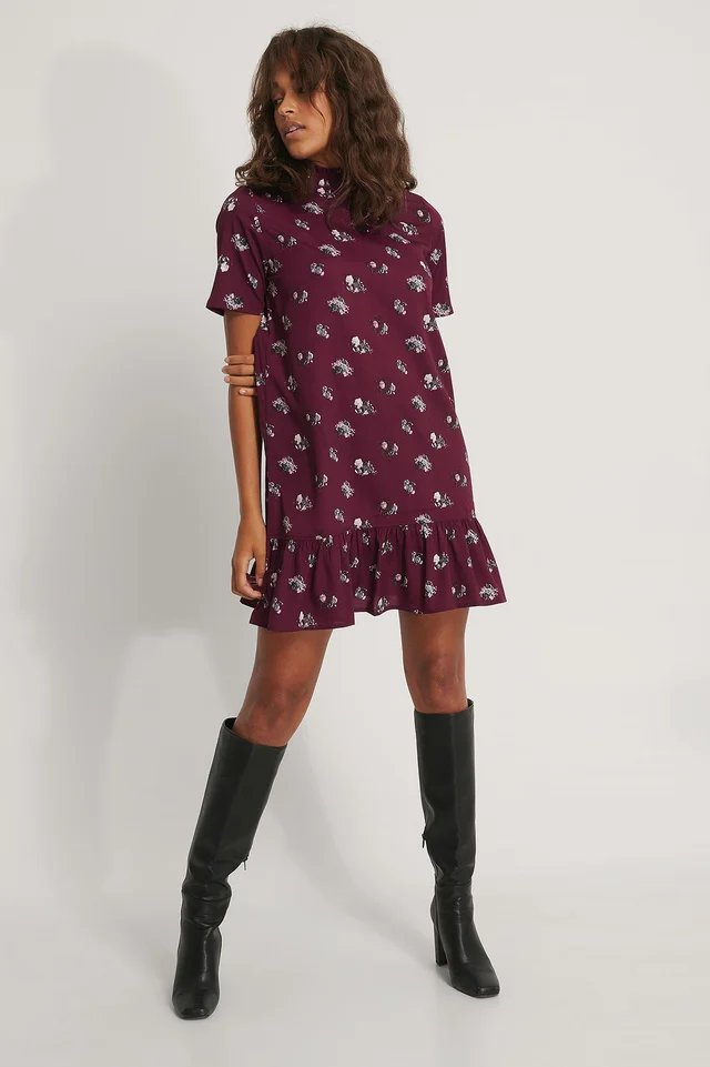Printed Flowy Mini Dress Outfit.