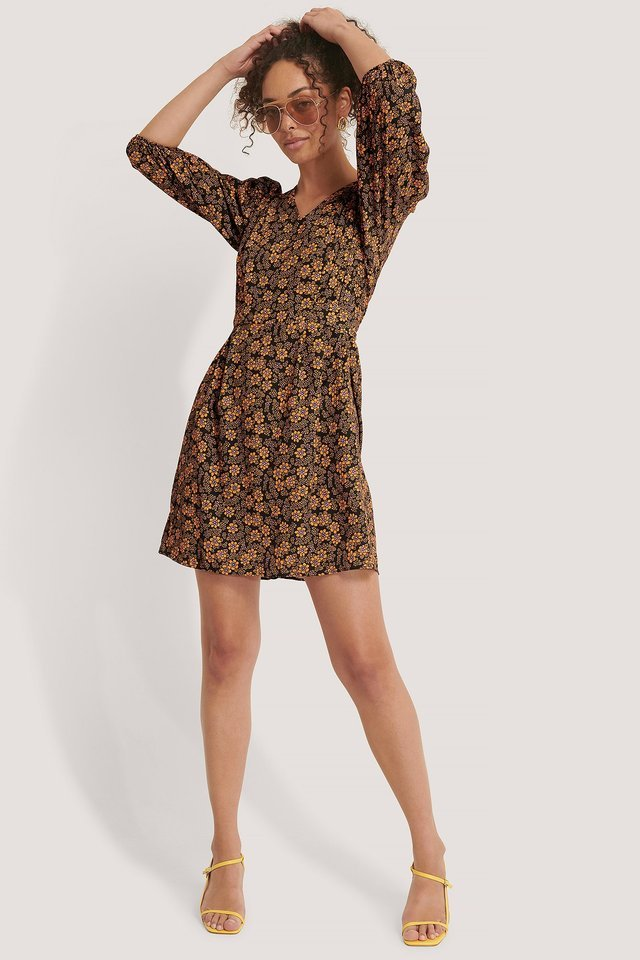 Printed V-Neck Mini Dress Outfit.