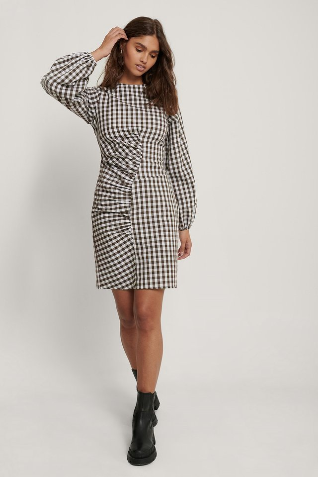 Front Ruched Checked Dress Outfit.