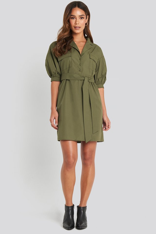 Puff Sleeve Chest Pocket Mini Dress Outfit.