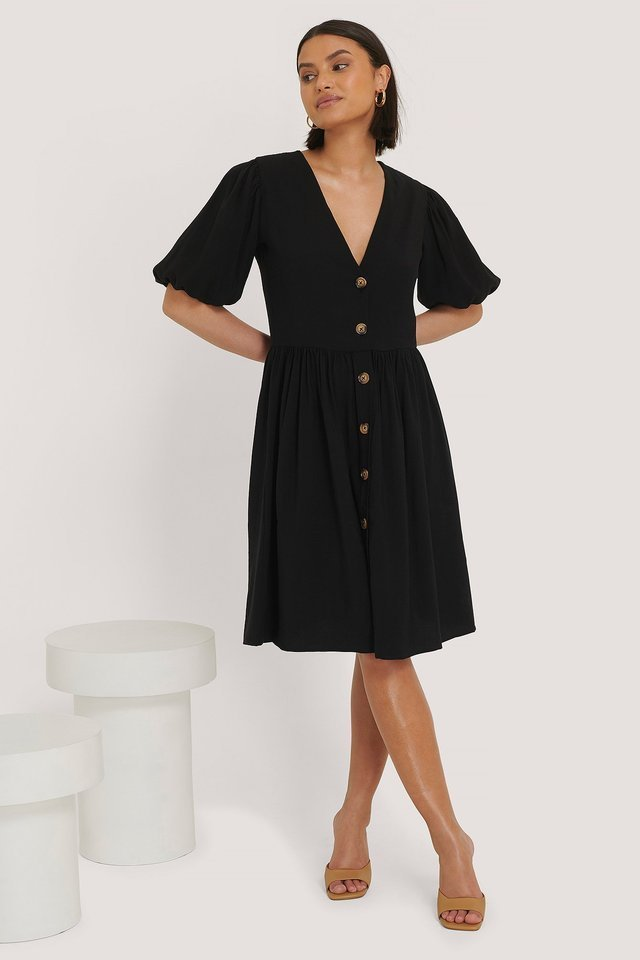 Puff Sleeve Dress Outfit.