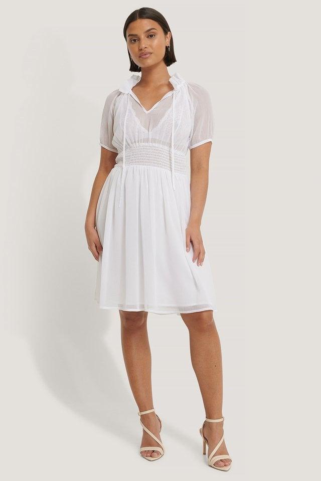 Shirred Smock Waist Dress White.