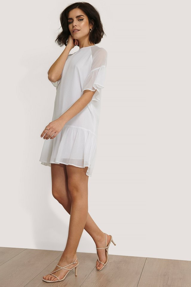 Shirred Short Sleeve Dress White.