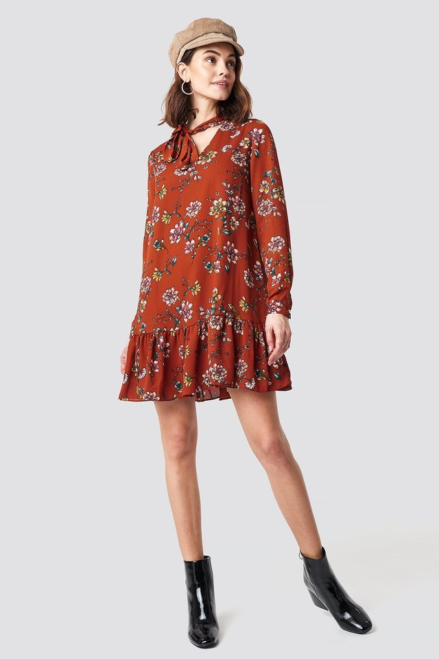 Shawl Collar Mini Dress Orange.