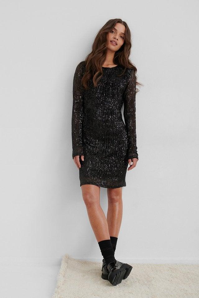 Sequin Round Neck Mini Dress.