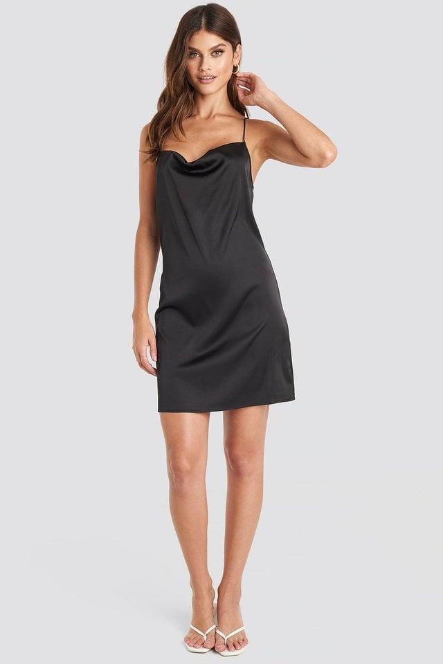 Satin Waterfall Mini Dress Black.