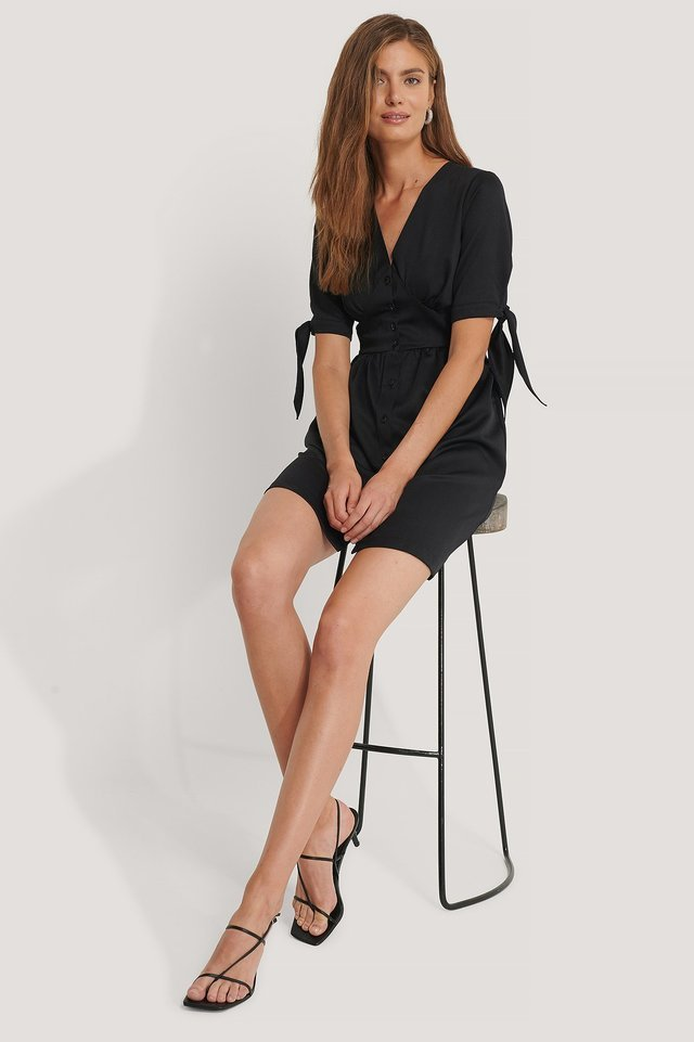 Satin Buttoned Detail Mini Dress Black.