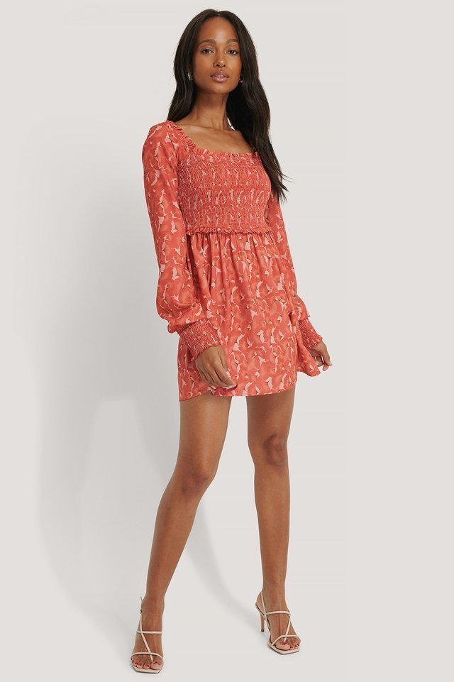 Sandy Smock Mini Dress Red.