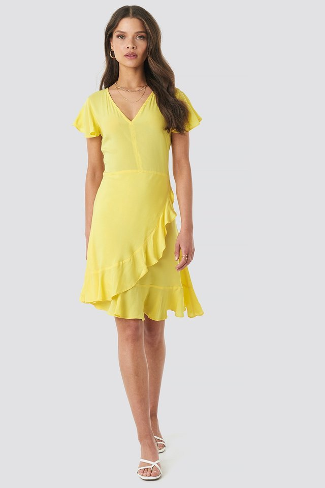 Ruffle Wrap Mini Dress Yellow.