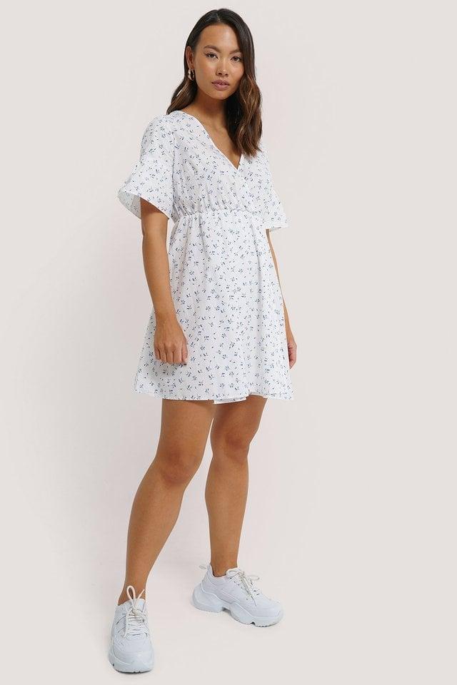 Ruffle Sleeve Mini Dress White.