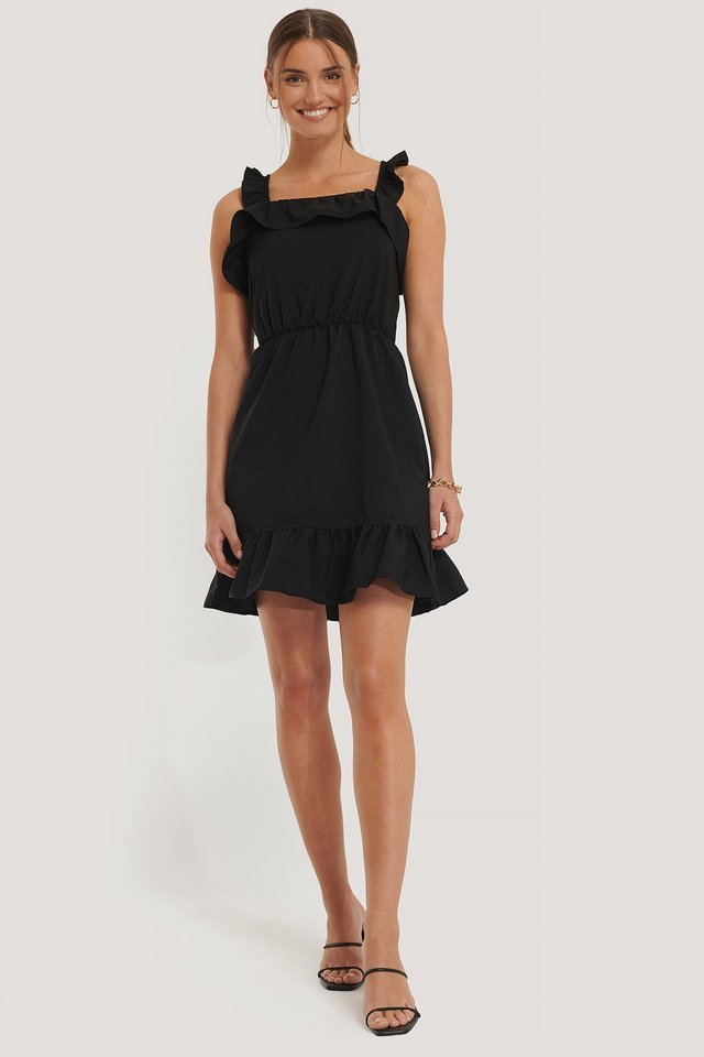 Ruffle Mini Dress Black.