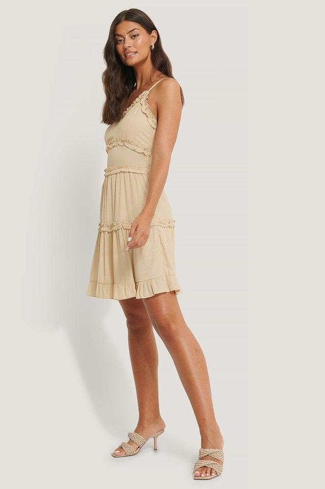 Ruffle Detailed Mini Dress Beige.