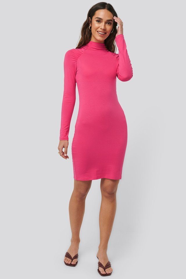 Ruched Raglan Sleeve Dress Pink.