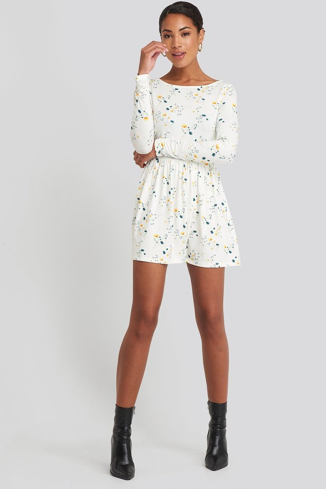Round Neck Floral Print Skater Dress White.