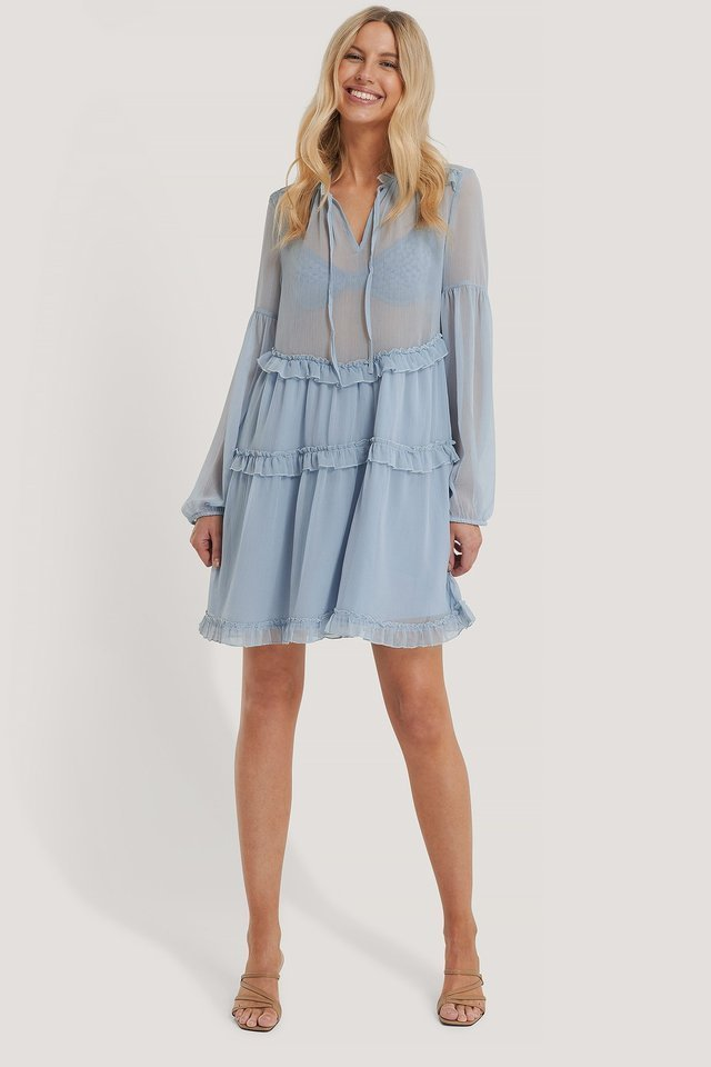 Ruffle Chiffon Dress Blue.