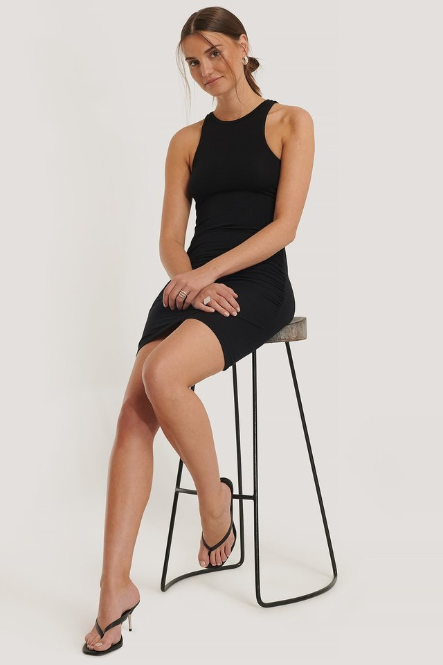 Rouched Sleeveless Dress Black.