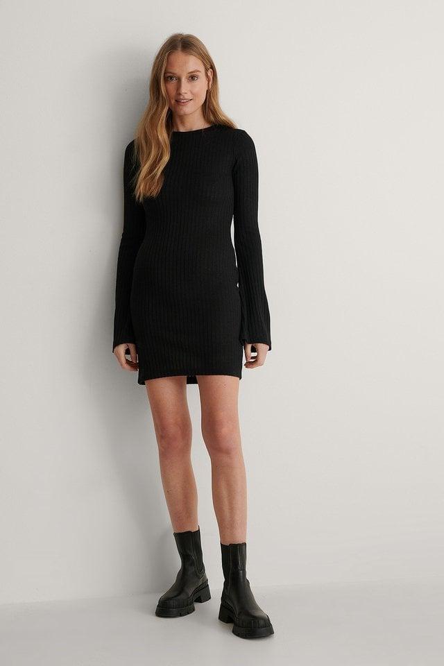 Ribbed Trumped Sleeve Dress Black.