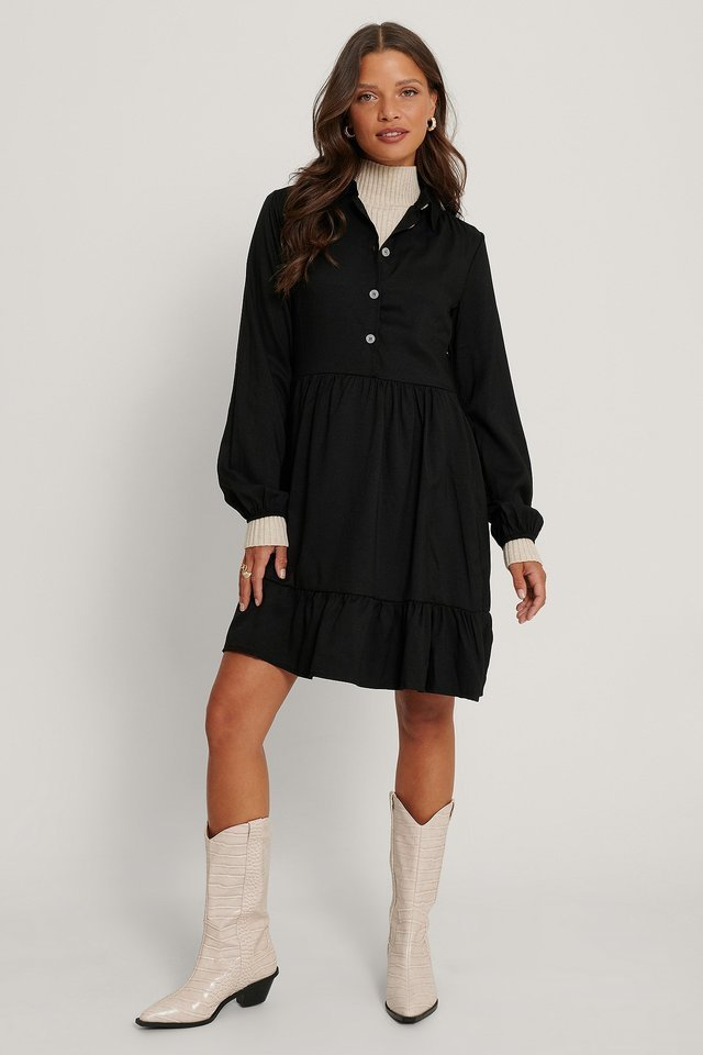 Pure Button Detailed Mini Dress Black.