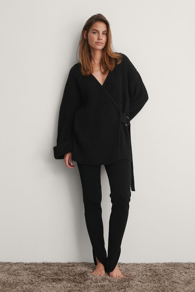 Black Knitted Wide Sleeve Cardigan