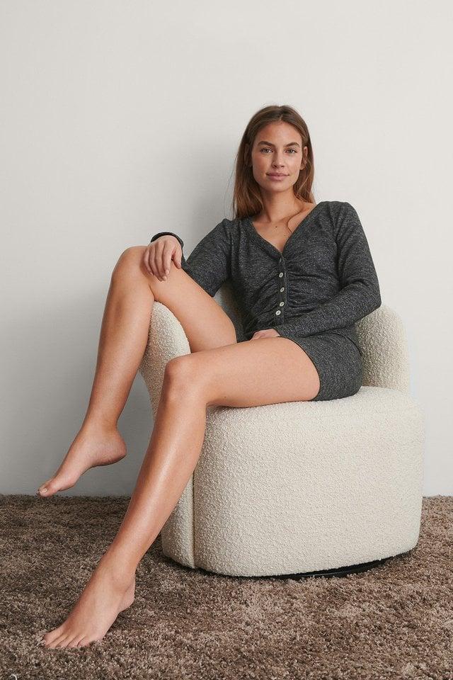 Grey Melange Jersey Button Up Cardigan