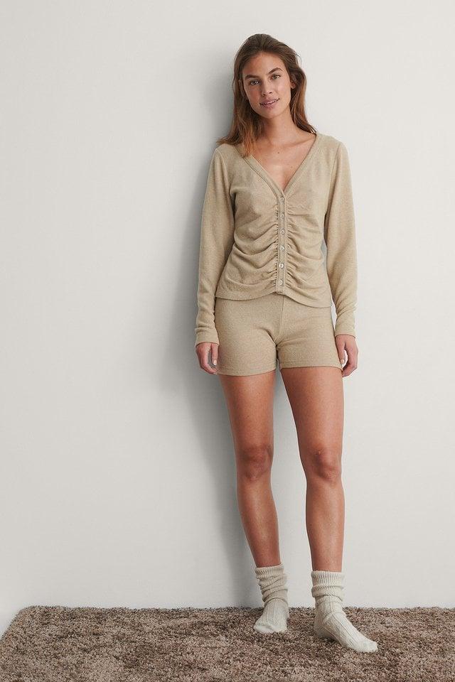 Beige Melange Jersey Button Up Cardigan