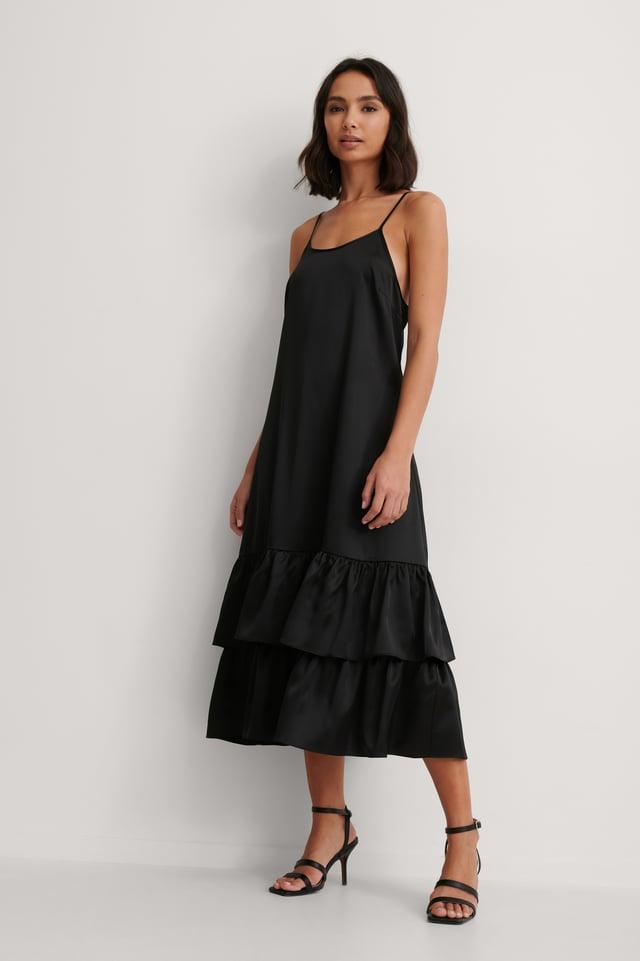 Flounce Strap Satin Dress Outfit.