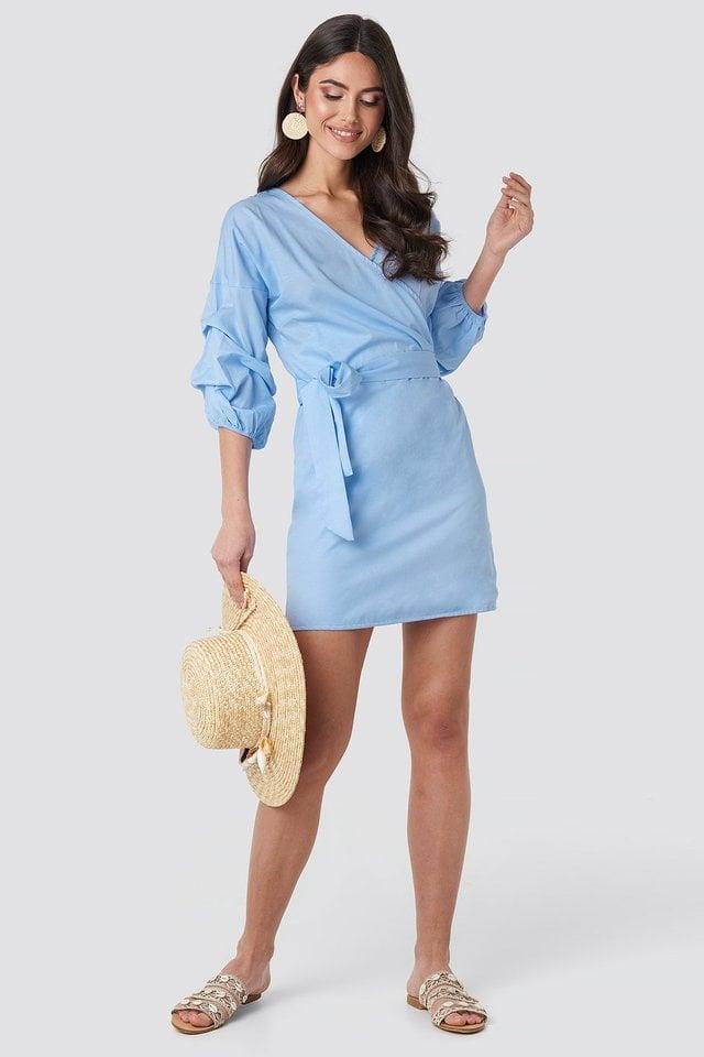 Light Blue Gathered Waist Puff Sleeve Dress