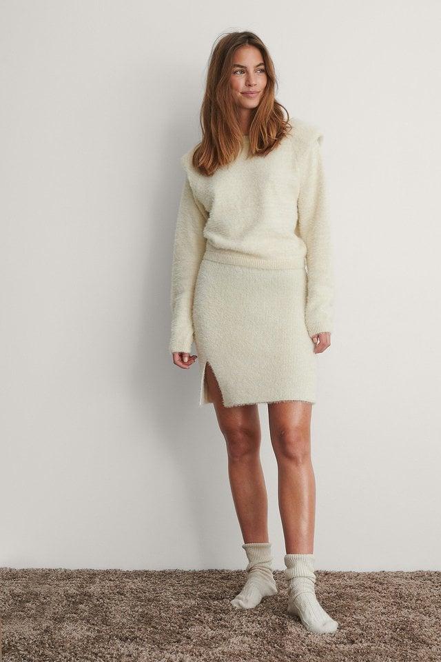 Cream Fluffy Mini Skirt
