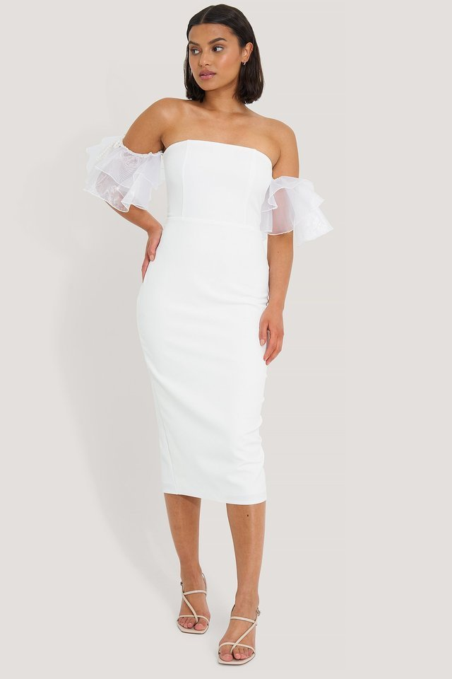 Mesh Sleeves Midi Dress Outfit.