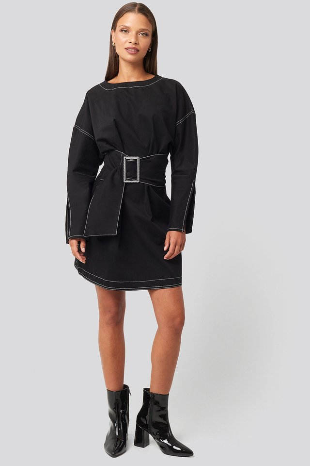 Mini Front Belted Dress Outfit.