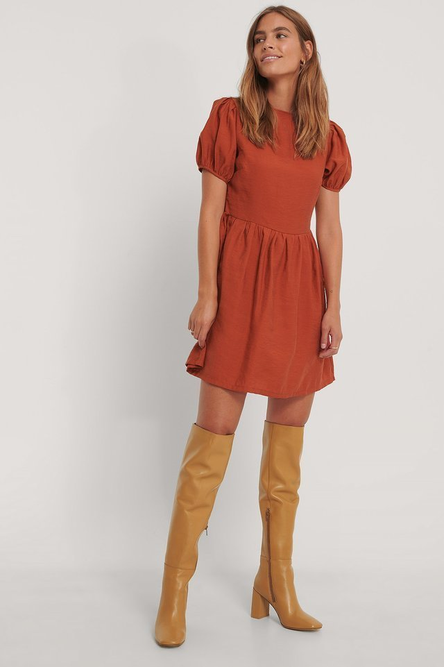 Red Puff Sleeves Gathered Skirt Dress