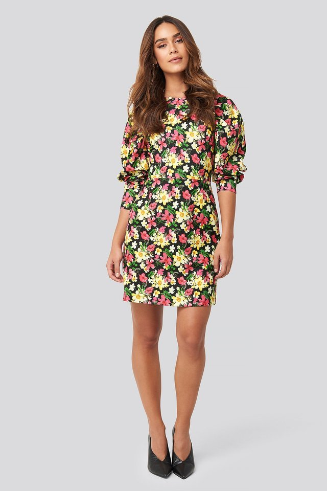 Puff Sleeve Rund Neck Mini Dress Multicolor.