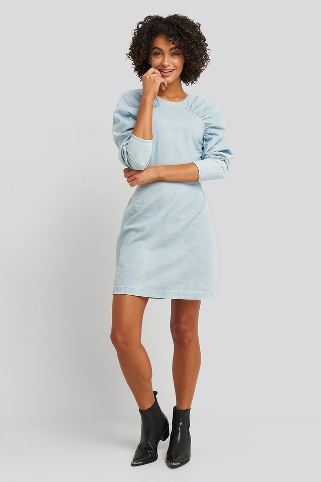 Puff Sleeve Round Neck Mini Dress Blue.