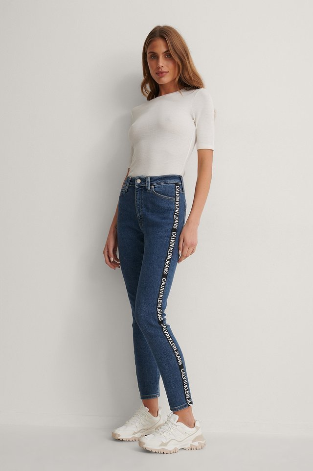 High Rise Skinny Ankle Jeans Blue.